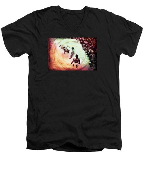 Men's V-Neck T-Shirt featuring the photograph The Upset by Allen Beilschmidt