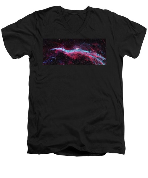 Men's V-Neck T-Shirt featuring the photograph The Veil Nebula by Nasa