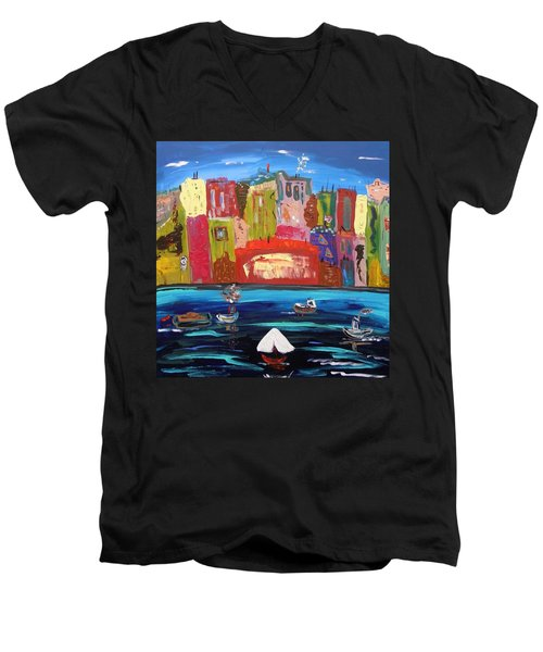 The Vista Of The City Men's V-Neck T-Shirt by Mary Carol Williams