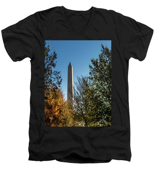 The Washington Monument In Fall Men's V-Neck T-Shirt