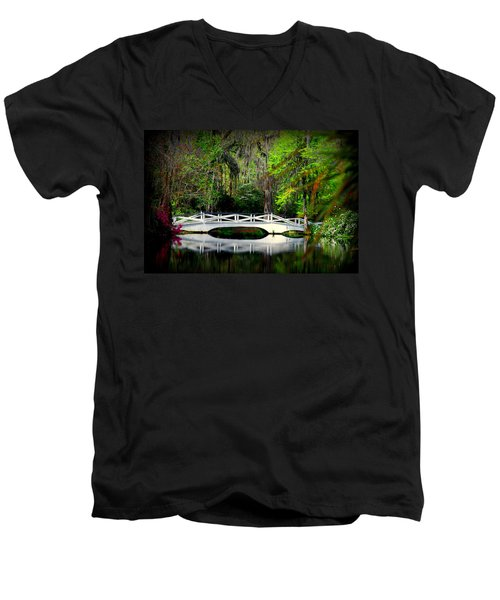 The White Bridge In Magnolia Gardens Sc Men's V-Neck T-Shirt