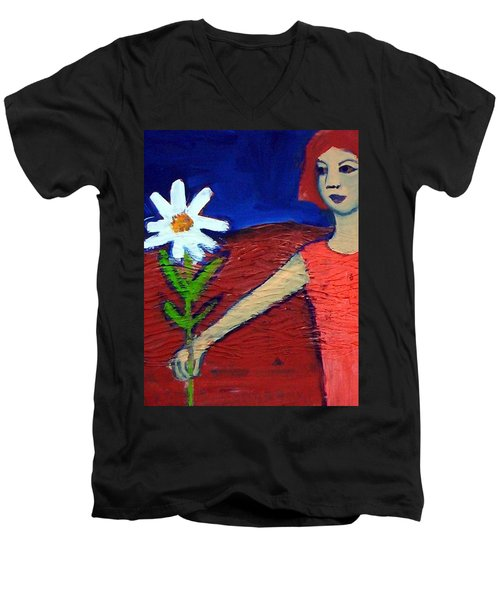 Men's V-Neck T-Shirt featuring the painting The White Flower by Winsome Gunning