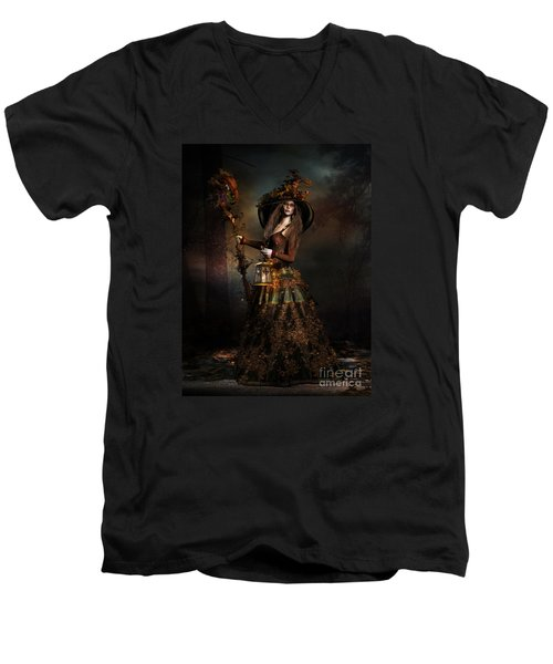 Men's V-Neck T-Shirt featuring the digital art The Wood Witch by Shanina Conway