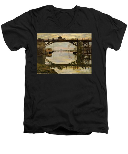 The Wooden Bridge Men's V-Neck T-Shirt by Monet