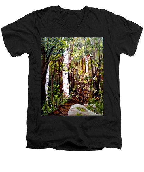 The Woodland Trail Men's V-Neck T-Shirt by Renate Nadi Wesley