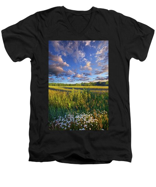 The World Is Quiet Here Men's V-Neck T-Shirt by Phil Koch