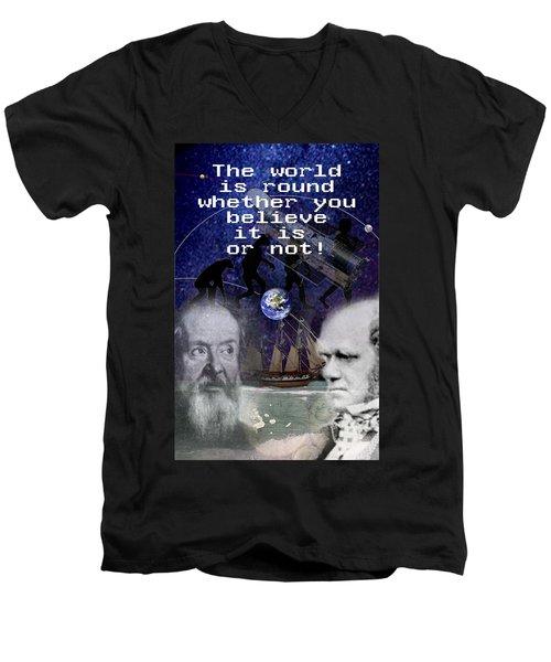 The World Is Round Men's V-Neck T-Shirt by Steve Karol