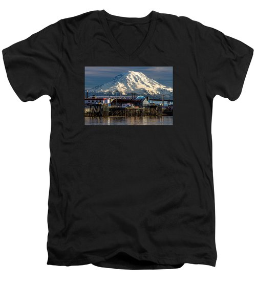 Men's V-Neck T-Shirt featuring the photograph Thea Foss Waterway And Rainier 2 by Rob Green