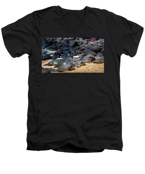 Men's V-Neck T-Shirt featuring the photograph There Has Got To Be More Room On This Beach  by Jim Thompson