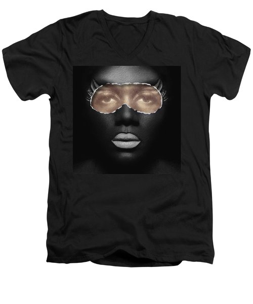 Thin Skinned Black Men's V-Neck T-Shirt by ISAW Gallery