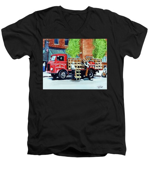 Men's V-Neck T-Shirt featuring the painting This Bud's For You by Tom Riggs