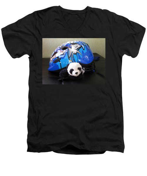 Men's V-Neck T-Shirt featuring the photograph This Helmet Is So Heavy Ugh by Ausra Huntington nee Paulauskaite