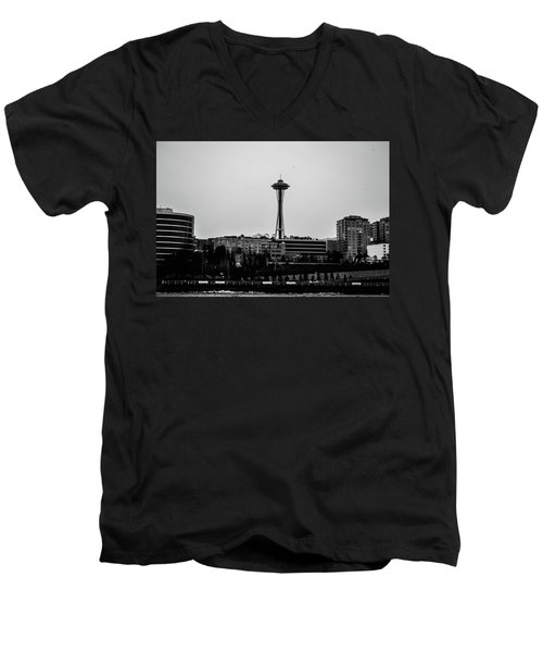 This Is Seattle Black And White Men's V-Neck T-Shirt