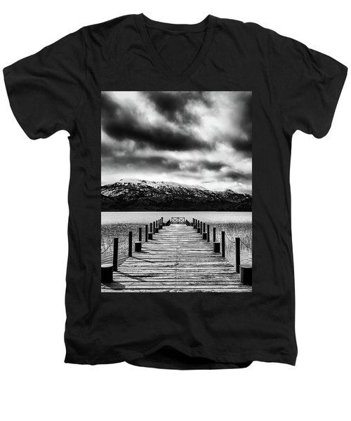 Landscape With Lake And Snowy Mountains In The Argentine Patagonia - Black And White Men's V-Neck T-Shirt