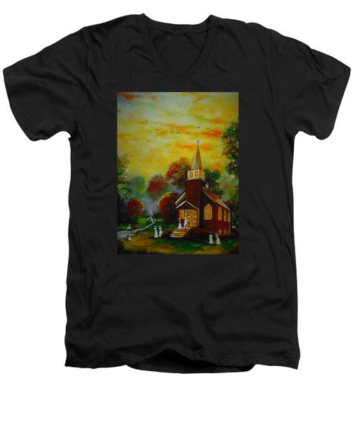 This Sunday Men's V-Neck T-Shirt by Emery Franklin