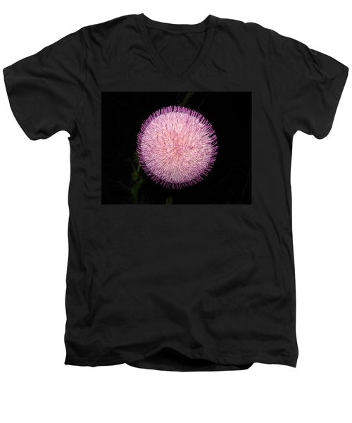 Thistle Bloom At Night Men's V-Neck T-Shirt by J R Seymour