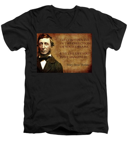Thoreau Quote 1 Men's V-Neck T-Shirt by Andrew Fare