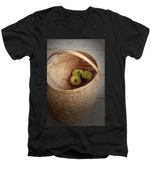 Men's V-Neck T-Shirt featuring the photograph Three Apples by Emanuel Tanjala