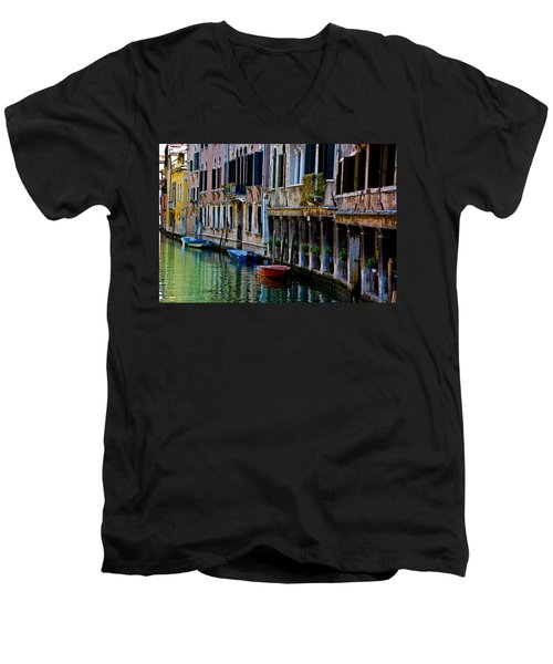 Men's V-Neck T-Shirt featuring the photograph Three Boats by Harry Spitz