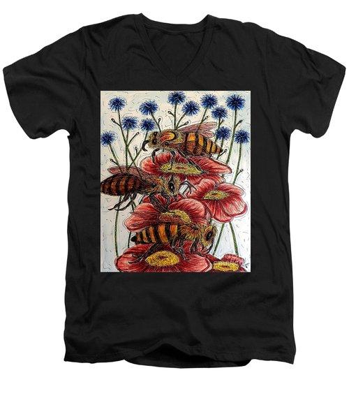 Three Busy Bees Men's V-Neck T-Shirt