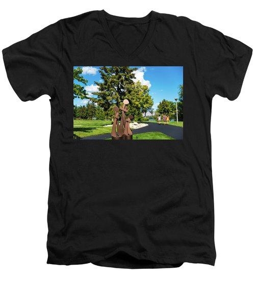 Three By Three Men's V-Neck T-Shirt