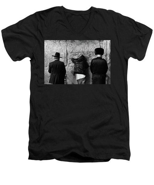 Three Different Selichot Prayers At The Kotel Men's V-Neck T-Shirt by Yoel Koskas