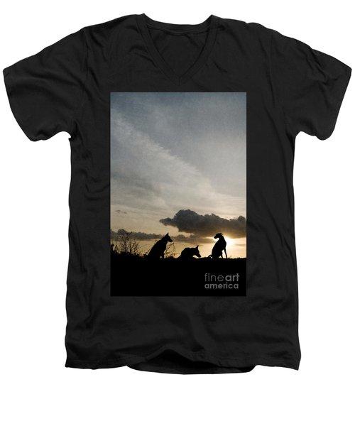 Three Dogs At Sunset Men's V-Neck T-Shirt