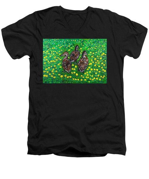 Three Ducklings Men's V-Neck T-Shirt by Valerie Ornstein
