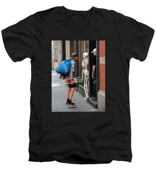Men's V-Neck T-Shirt featuring the photograph Three Friends by Dorin Adrian Berbier