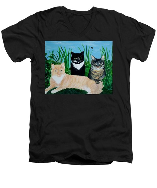 Three Furry Friends Men's V-Neck T-Shirt