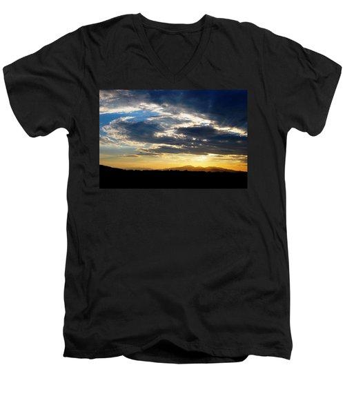 Three Peak Sunset Swirl Skyscape Men's V-Neck T-Shirt by Matt Harang