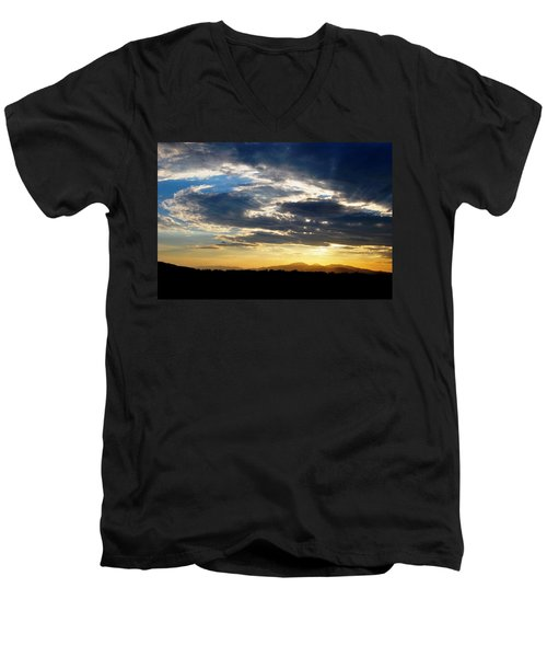 Three Peak Sunset Swirl Skyscape Men's V-Neck T-Shirt