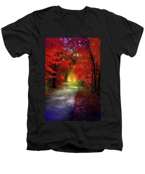 Through The Crimson Leaves To A Golden Beginning Men's V-Neck T-Shirt