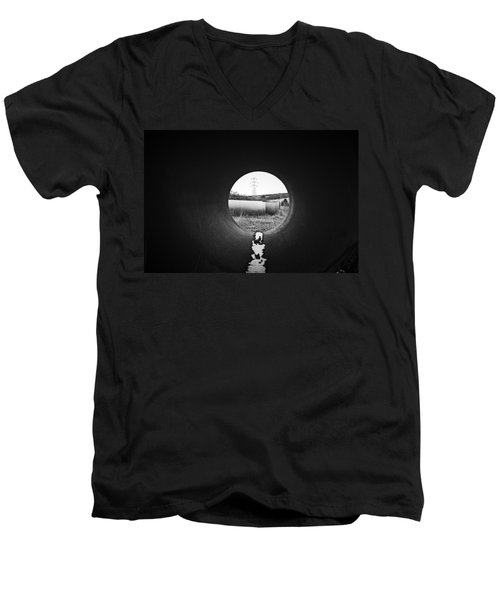 Men's V-Neck T-Shirt featuring the photograph Through The Pipe by Keith Elliott