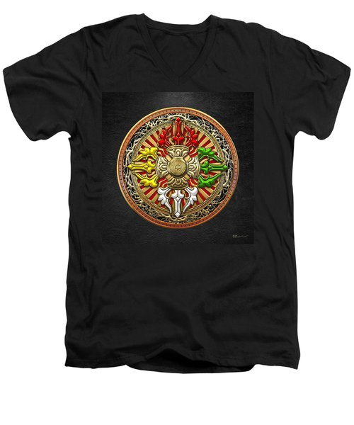 Tibetan Double Dorje Mandala Men's V-Neck T-Shirt