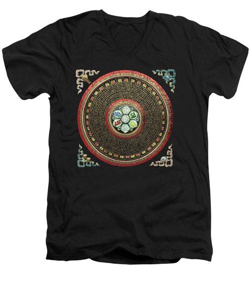 Tibetan Om Mantra Mandala In Gold On Black And Red Men's V-Neck T-Shirt
