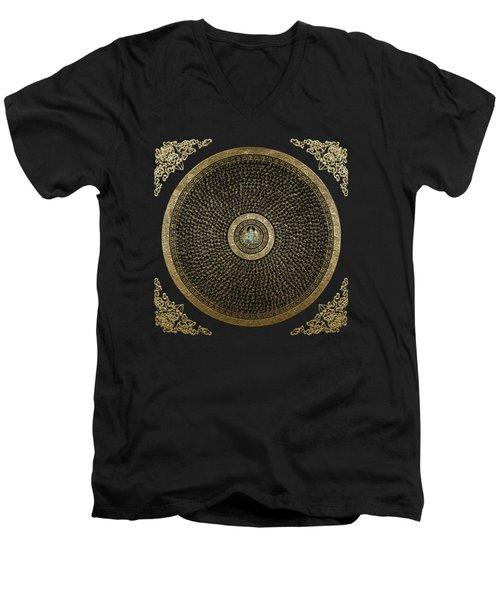 Tibetan Thangka - Green Tara Goddess Mandala With Mantra In Gold On Black Men's V-Neck T-Shirt