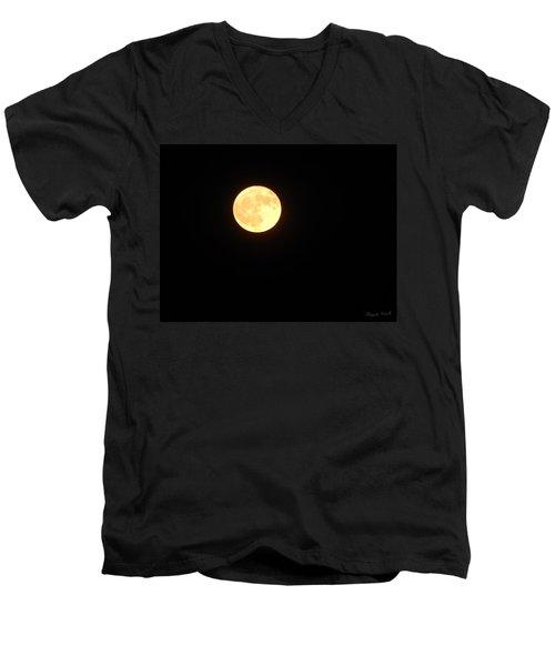 Tie Dyed Orange Moon Men's V-Neck T-Shirt