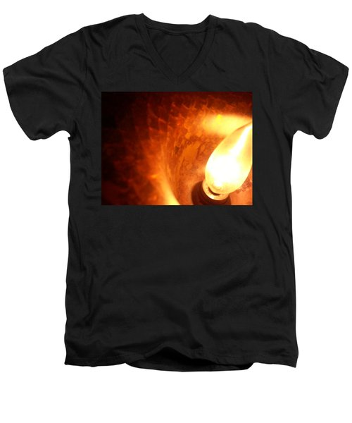 Men's V-Neck T-Shirt featuring the photograph Tiffany Lamp Inside by Robert Knight