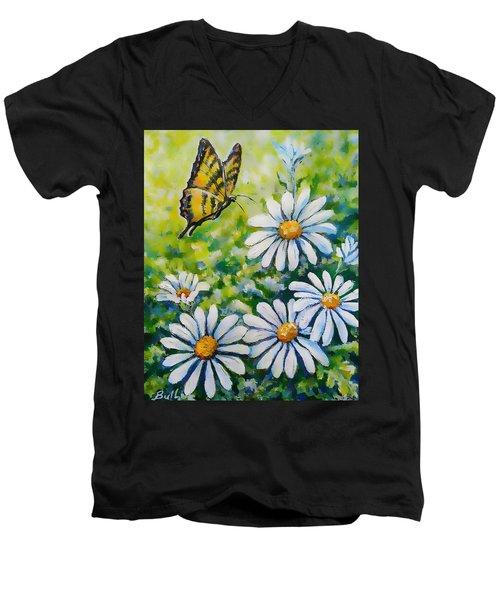 Tiger And Daisies  Men's V-Neck T-Shirt