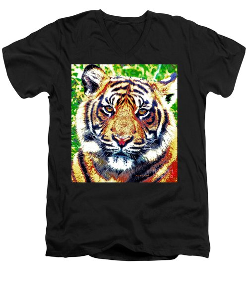Men's V-Neck T-Shirt featuring the painting Tiger Art by Annie Zeno