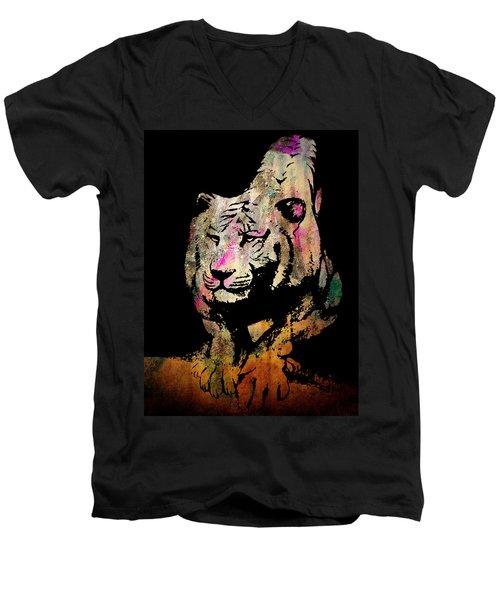 Tiger Collage #1 Men's V-Neck T-Shirt by Kim Gauge