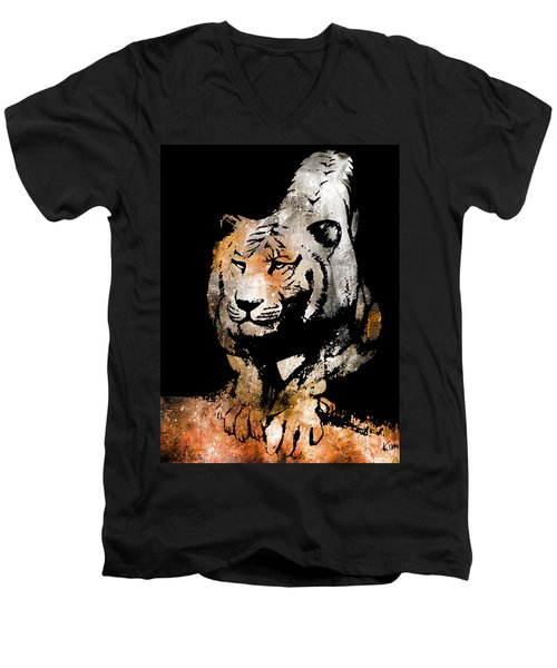 Men's V-Neck T-Shirt featuring the drawing Tiger Collage #6 by Kim Gauge