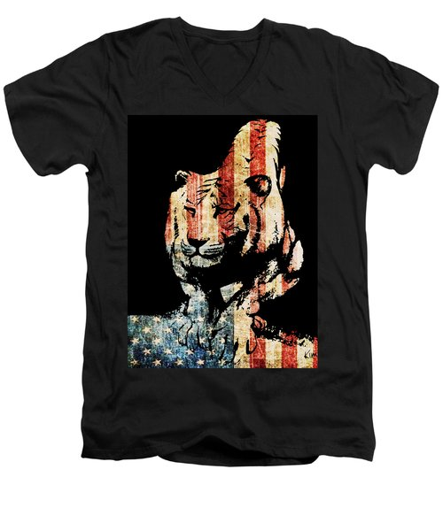 Men's V-Neck T-Shirt featuring the drawing Tiger Collage #9 by Kim Gauge