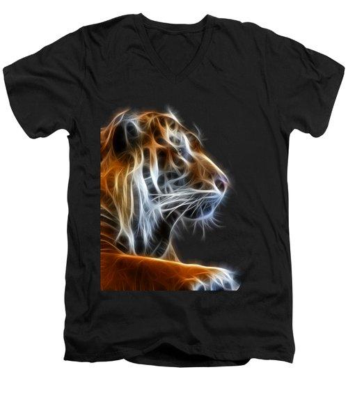 Tiger Fractal 2 Men's V-Neck T-Shirt by Shane Bechler
