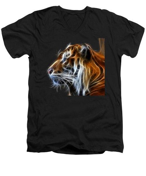 Tiger Fractal Men's V-Neck T-Shirt by Shane Bechler