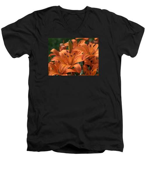 Tiger Lily Blossoms Men's V-Neck T-Shirt