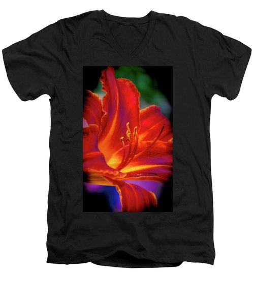 Tiger Lily Men's V-Neck T-Shirt by Mark Dunton