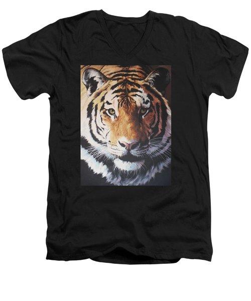 Tiger Portrait Men's V-Neck T-Shirt by Vivien Rhyan