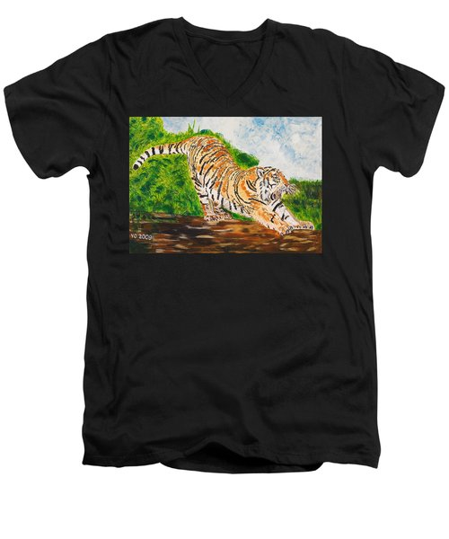 Tiger Stretching Men's V-Neck T-Shirt by Valerie Ornstein